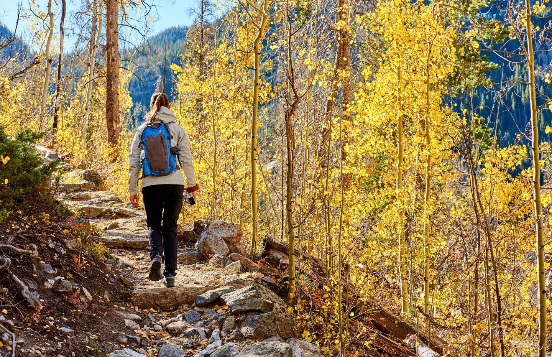 Guy hiking in autumn